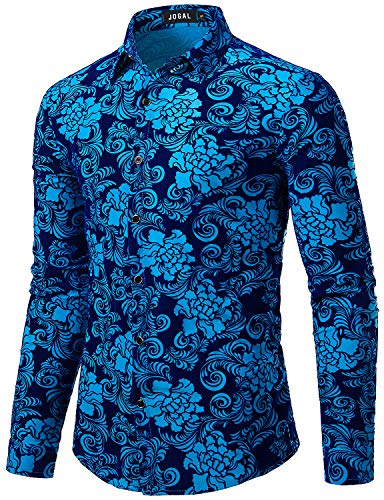 (JOGAL Men's Floral Vintage Velvet Slim Fit Long Sleeve Casual Button Down Shirt X-Large A349 Blue Rose)