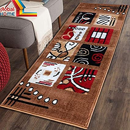 Global Home Runner Carpet for Bedroom -22X55 inch - Color Brown Gold