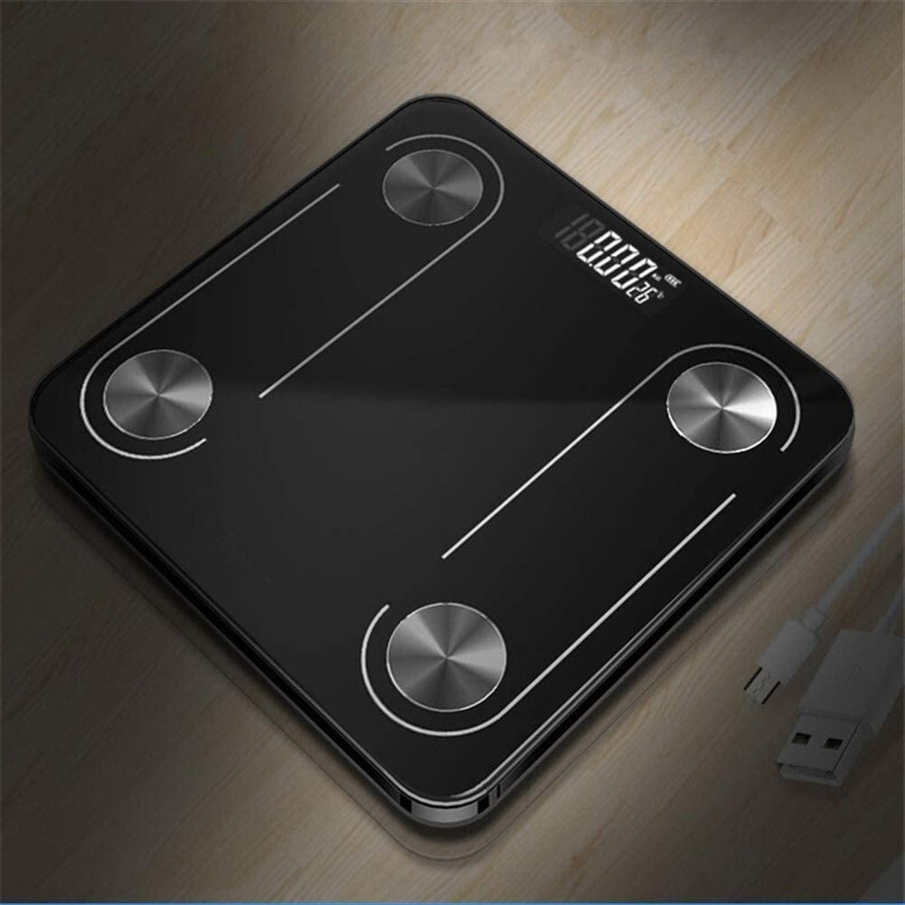 Professional Bathroom Body Fat Scale Anti-skid Design Floor Science Intelligent Electronic Backlight Digital Weight Scale Bluetooth APP durable (Color : Blue) Black
