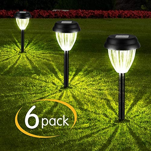 Brightown Solar Pathway Lights 6 PCs, LED Solar Powered Landscape Stake Lights for Garden Yard Walkway Outdoor Lawn Driveway Sidewalk, Waterproof, Auto on Off, Neutral White