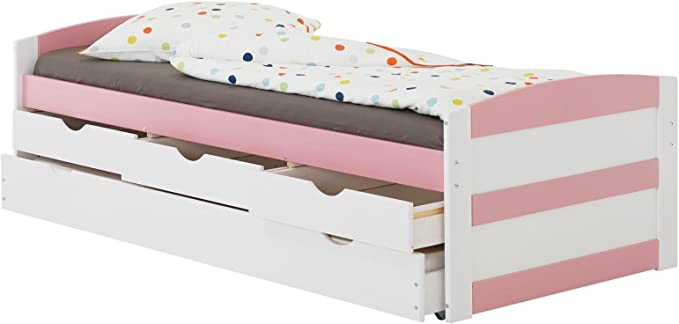 IDIMEX Cama Nido Jessy – Cama Infantil Funcional Nido (y Espacio 3 cajones, Dormir 90 x 200 cm 1 Plaza/1 Persona, en Pino Macizo, Pino Macizo, ...