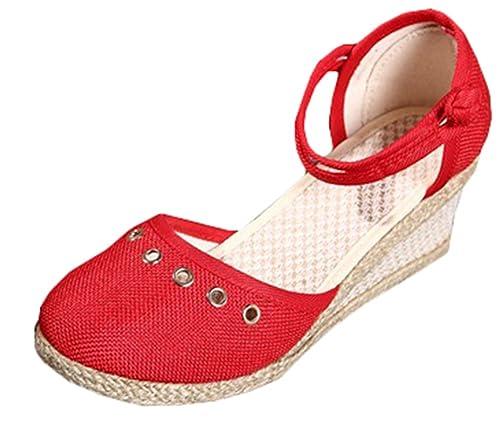 Compensées Espadrilles Chaussures Talons Femmes Ankle Amplaue Strap xfvn40