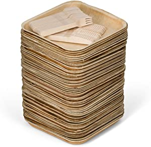 50 10 inch Square Palm Leaf Plates + 100 Cutlery - Better Than Bamboo or Wood Plates. Heavy Duty, 100% Compostable & Biodegradable Eco Friendly Party Plates