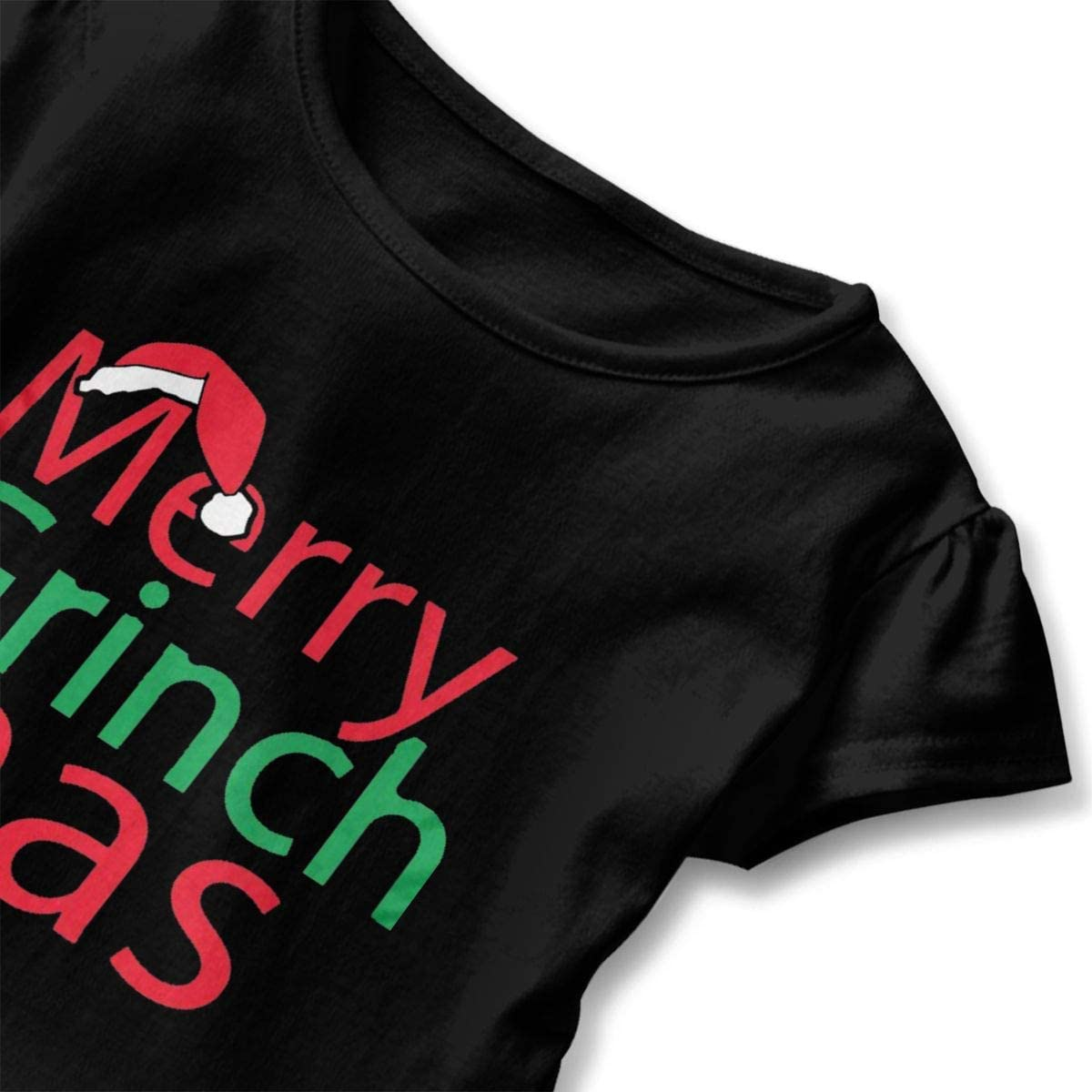 Merry Grinch Mas Shirt Baby Girls Flounced Cotton Tops for 2-6 Years Old Baby Black
