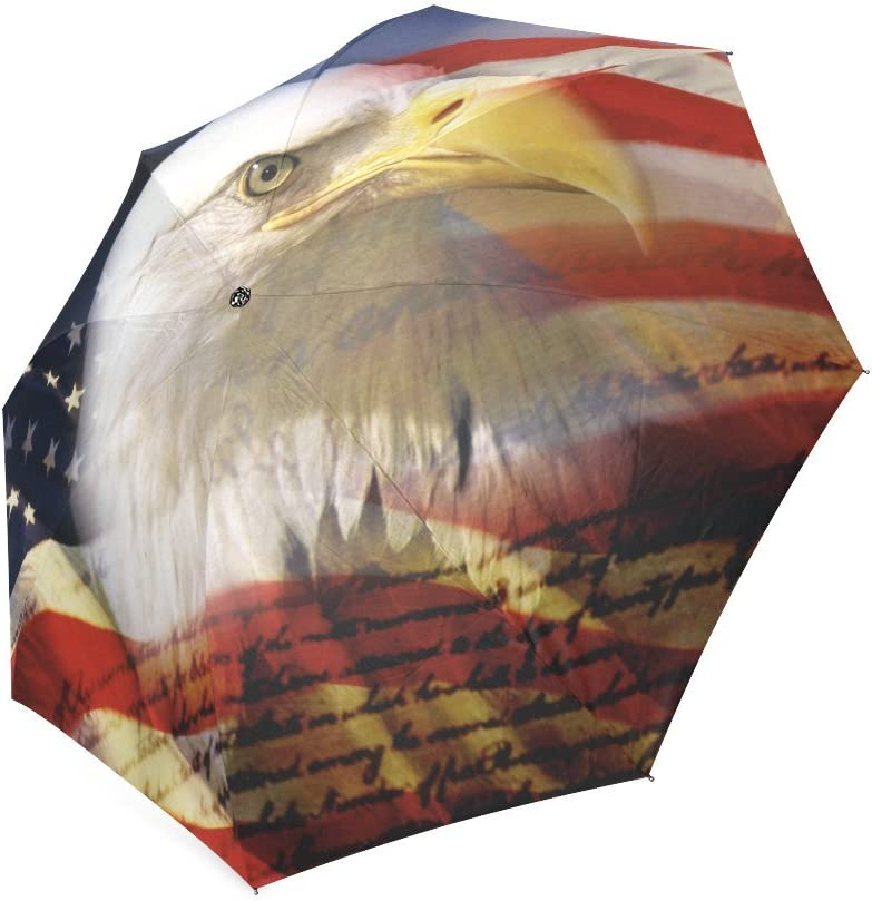 Custom American Flag with Eagle Compact Travel Windproof Rainproof Foldable Umbrella