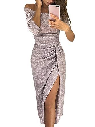 ORANDESIGNE Donna Vestito Lungo Sexy Senza Spalline Manica a 3 4 Abito da  Sera Elegante Vestiti da Cerimonia Cocktail Party Dress Slim Fit   Amazon.it  ... 3139e6e8b89