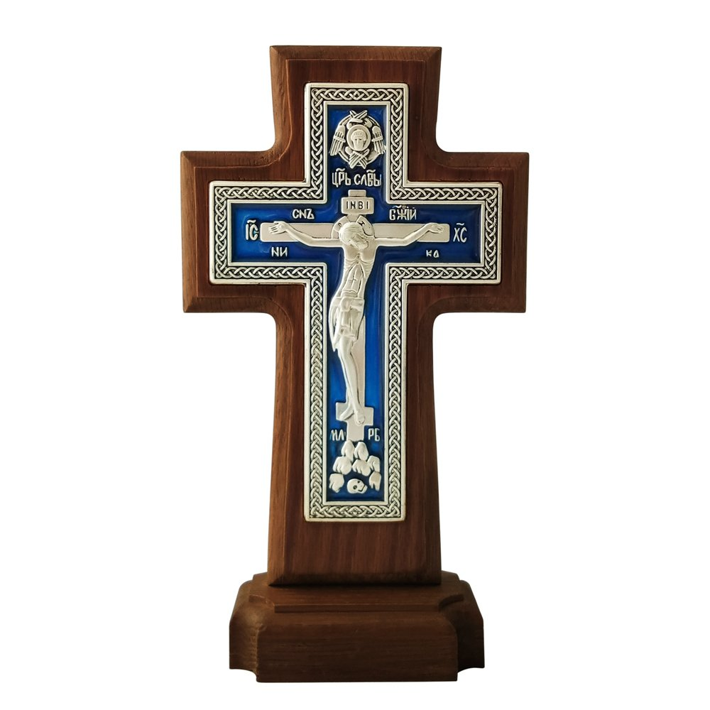 FENGMICON Metal Byzantine Orthodox Cross-Crucifix On Solid Oak Wood Standing 8.7Inch (FMRWC-Z11 BLUE)