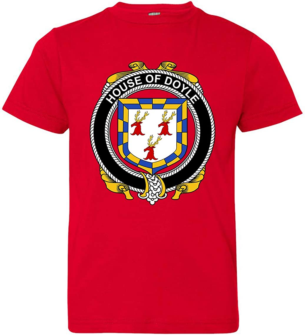 Tenacitee Boys Youth Irish House Heraldry Doyle T-Shirt Red X-Large