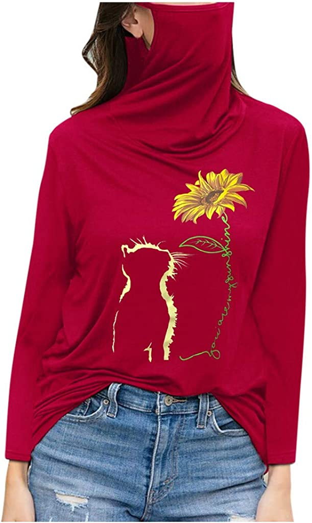 Shirt with Face Mask Women Cute Cat Sunflower Your are My Sunshine Graphic Long Sleeve Inspirational Shirts Tops
