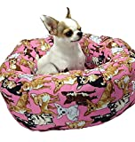 Chihuahua Pink Round Pet Bed