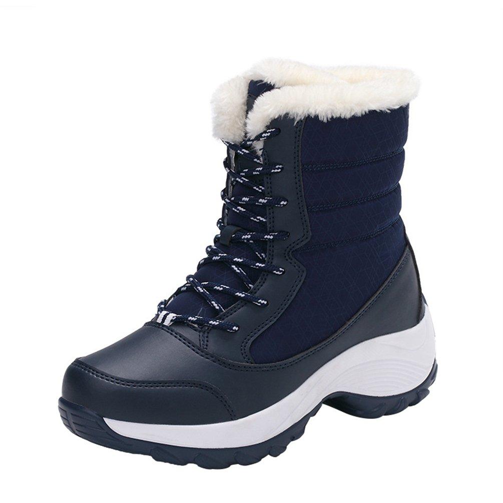 LvRao Stivali da Neve con Pelliccia Ecologica Donna Stivaletti Inverno Caldo Collo Alto Scarpe Blu scuro