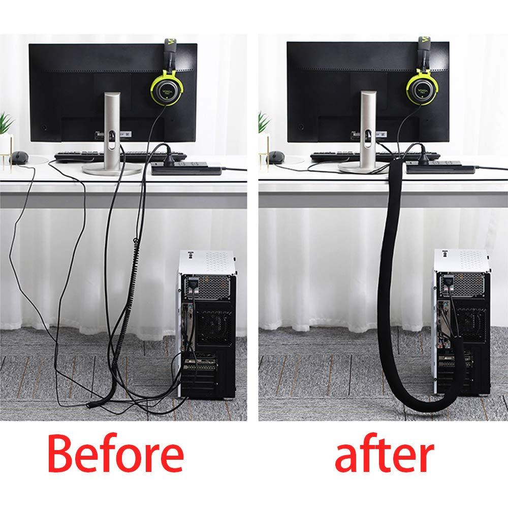 Black and White Reversible Mila-Amaz Cable Management Sleeve Adjustable Neoprene Cable Tidy Organizer
