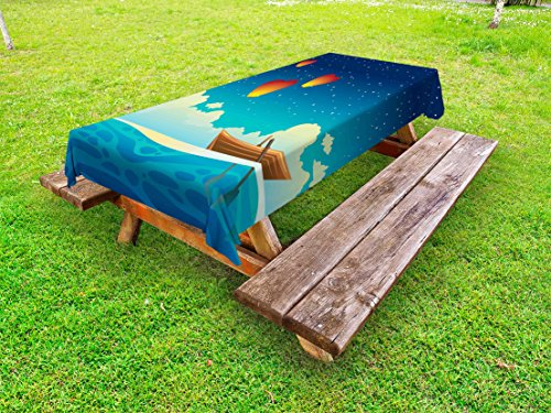 Lunarable Marine Outdoor Tablecloth, Wooden Boat with Paddles Floating in The Ocean Idyllic Landscape Flying Lanterns, Decorative Washable Picnic Table Cloth, 58 X 104 inches, Multicolor