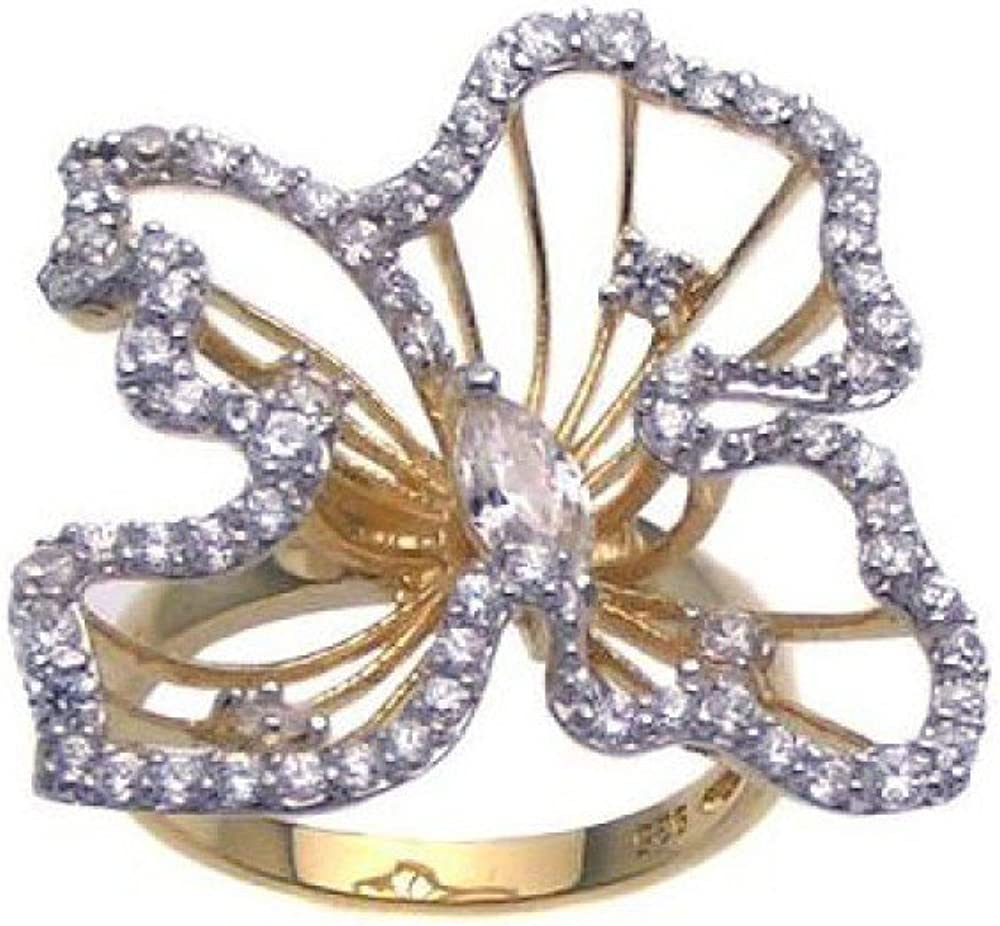 Princess Kylie Clear Cubic Zirconia Channel Flower Design Ring Gold-Tone Plated Sterling Silver