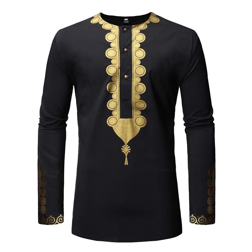 Allywit-Mens Autumn Winter Luxury African Print Long Sleeve Dashiki Shirt Top Blouse S-2XL Black