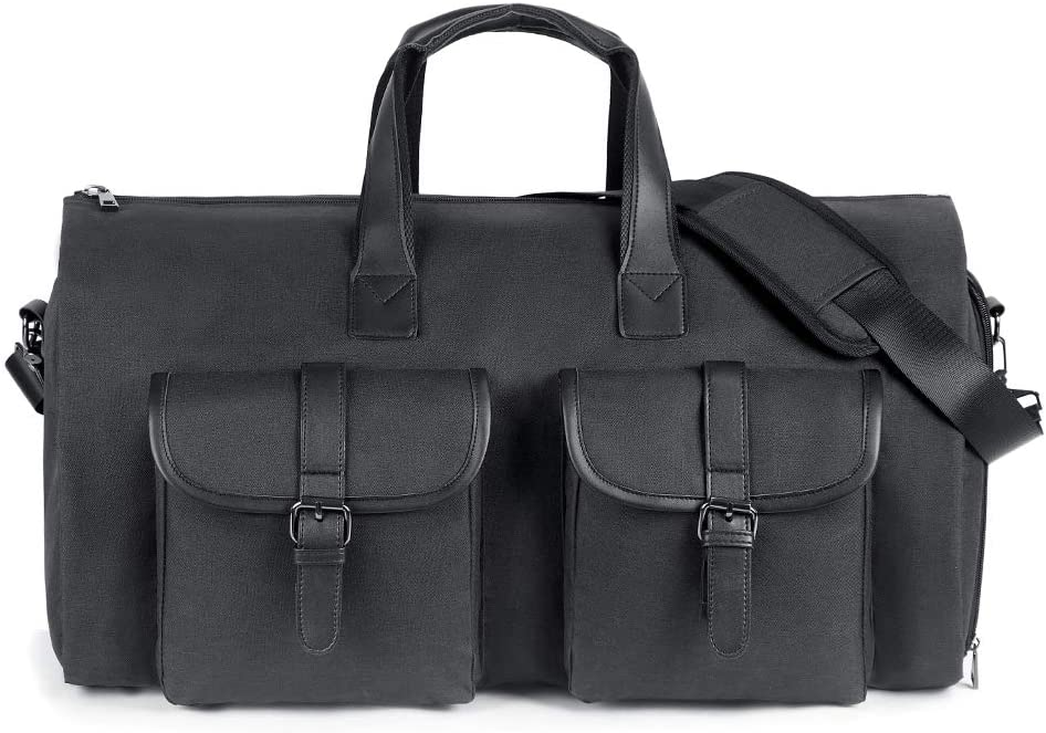 SUVOM Carry On Garment Bag Duffel Bag Man Travel Weekend Bag Overnight Bag Flight Bag With with Shoe Compartment for Travel Business Trips Black