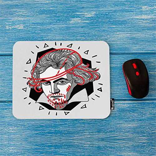Mugod Mouse Pad Modern Portrait of Composer and Musician Ludwig Van Beethoven Decor Gaming Mouse Pad Rectangle Non-Slip Rubber Mousepad for Computers Laptop 7.9x9.5 Inches