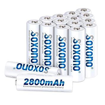Amazon.com: Soxono - Pilas AA recargables (2800 mAh, 1,2 V ...