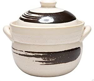 LIUSHI Rice Vessel Made of Earthenware Japanese Donabe Stone Rice Cooker hot Pot Heat-Resistant Soup Pot for Steaming Stove stew Ceramic Casserole with lid F 1l