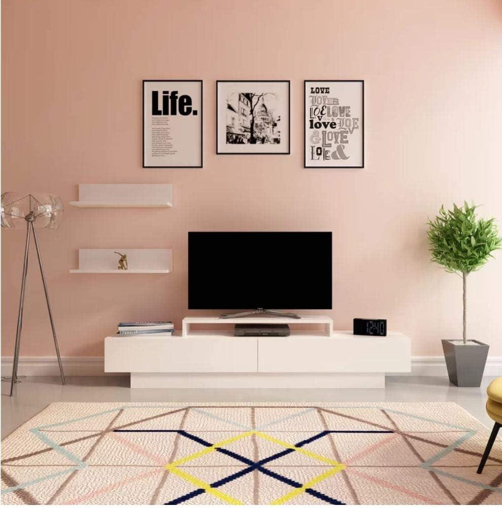 White Lusi 71 TV Stand Decorotika Entertainment Center