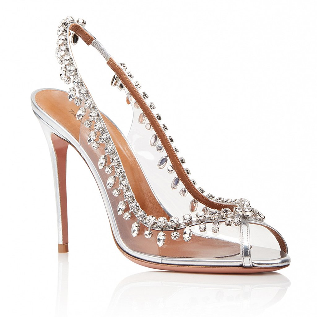 Womens PVC Fish Mouth Dew with High Heel Single Shoes Gorgeous Chain Diamond Fashion Shoes Summer Transparent Stitching Heel Height: 11-13cm