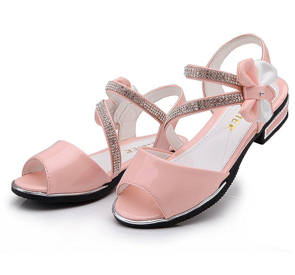 KISSOURBAY Princess Girls Summer PU Sandals with Rhinestone Bow Tie
