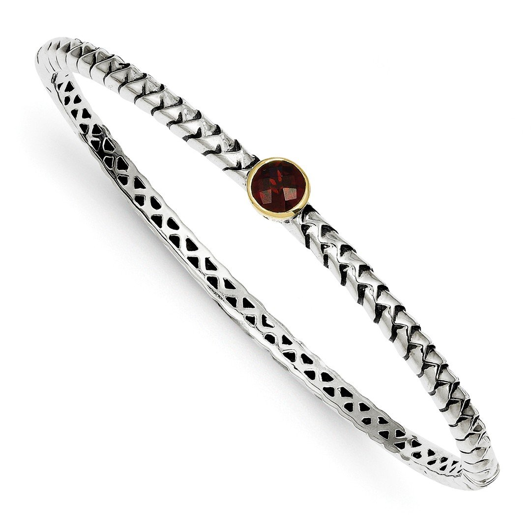 ICE CARATS 925 Sterling Silver 14k 6mm Red Garnet Bangle Bracelet Cuff Expandable Stackable Hinged Fine Jewelry Ideal Mothers Day Gifts For Mom Women Gift Set From Heart