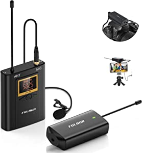 FULAIM WM300 Wireless Lavalier Microphone System, UHF 20-Channel Wireless Omni Lapel Microphone Compatible with iPhone, Android Phone, DSLR Camera for Video Recording, Youtube, Interview, Live, Vlog