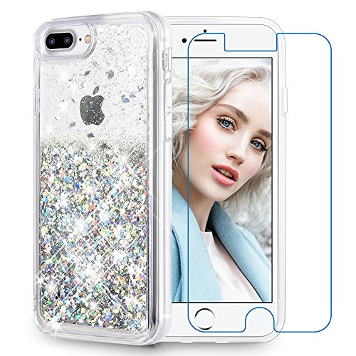 - Maxdara iPhone 8 Plus Case, iPhone 7 Plus Glitter Liquid Women Case [Tempered Glass Screen Protector] Floating Bling Sparkle Luxury Pretty Girls Case for iPhone 6 Plus/6s Plus/7 Plus/8 Plus (Silver)