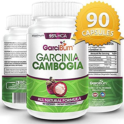 GarciBurn 95% Garcinia Cambogia Premium Strength - Full 45 Day Supply - Lose Your Mummy Tummy with the No Filler Carb Blocker that Lifts Spirits & Boosts Your Mood-Vegan-cGMP FDA Certified (Lose You Mummy Tummy)