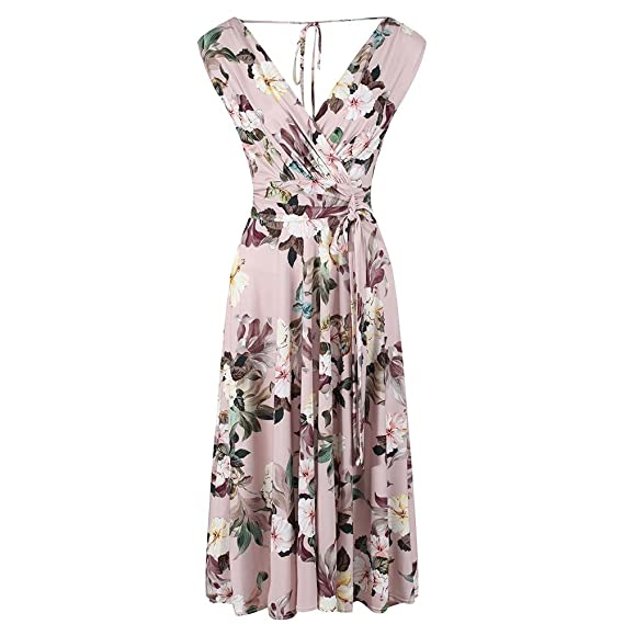 ba411a9f5060 Pretty Kitty Fashion Vintage Dusky Pink Floral Slinky Wrap Swing Dress:  Amazon.co.uk: Clothing