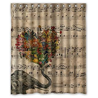 High Quality Generic Personalized Music Note And Elephant With Colorful Paisley Heart  For Shower Curtain Bath Curtain 60