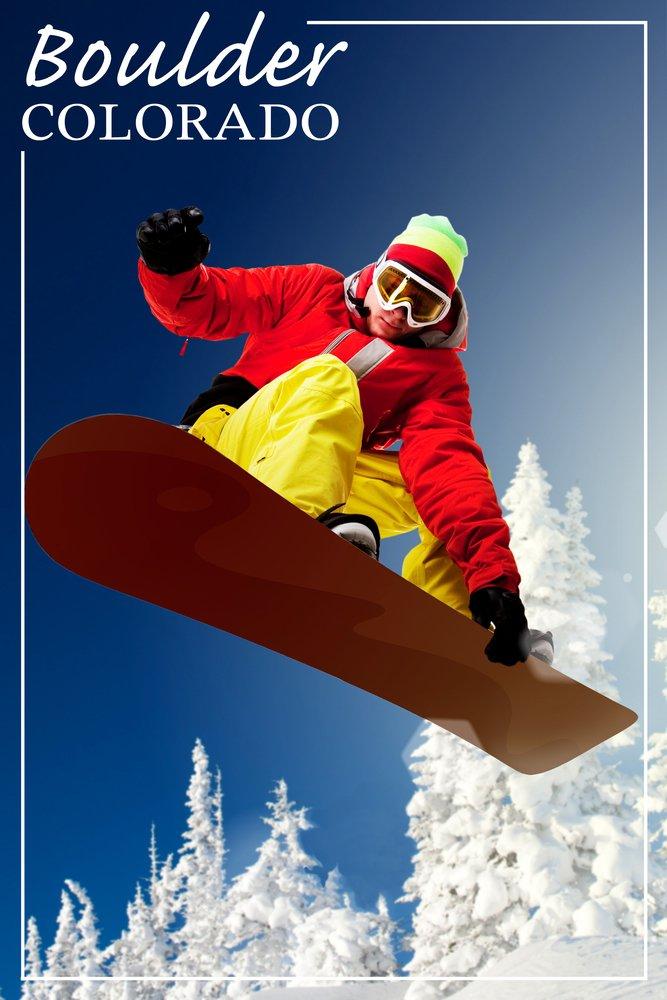 Boulder、コロラド – Snowboarder 36 x 54 Giclee Print LANT-48965-36x54 36 x 54 Giclee Print  B017E9W4X0