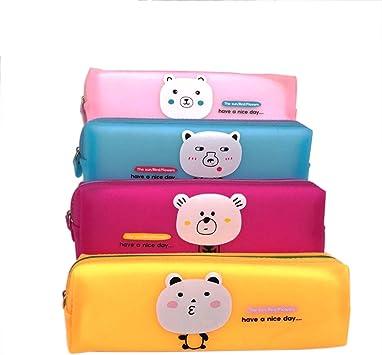 Drawihi Estuche de lápices, 4 piezas, 1 cada una en amarillo, azul, rosa, rosa, tamaño: 20 * 6.5 * 5: Amazon.es: Juguetes y juegos