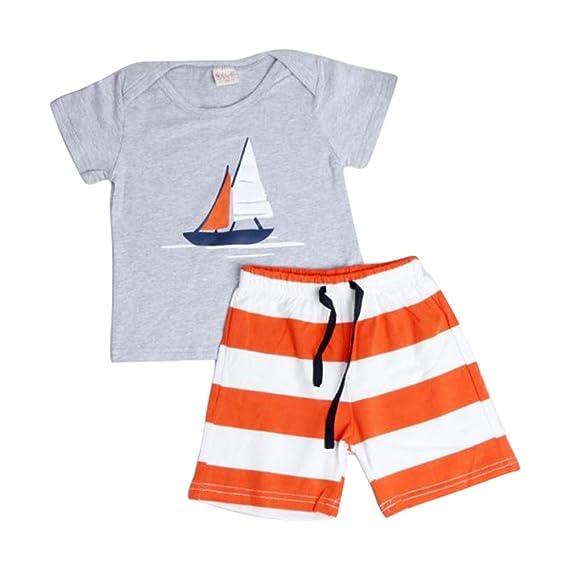 DRESS_start Ropa para NiñO - Conjunto Dibujos Animados para NiñOs -Camiseta NiñO Kid Set Sailboat + PantalóNes De Playa A Rayas -2PCS Traje De Verano Playa ...