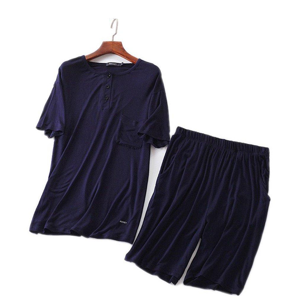 AEOPES Men Casual Pyjamas Suit Modal Summer Lounge Sleepwear Shorts Shirt Set Pajamas as Chart XL at Amazon Mens Clothing store: