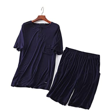 AEOPES Men Casual Pyjamas Suit Modal Summer Lounge Sleepwear Shorts Shirt Set Pajamas as Chart XL