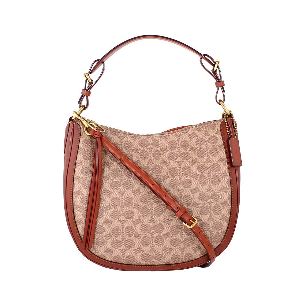 COACH Women's Coated Canvas Signature Sutton Hobo B4/Tan Rust One Size