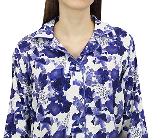 bianca elastica pigiama Bimba down Camicia 2 pantaloni in pezzi donna button con vita vEZxq1