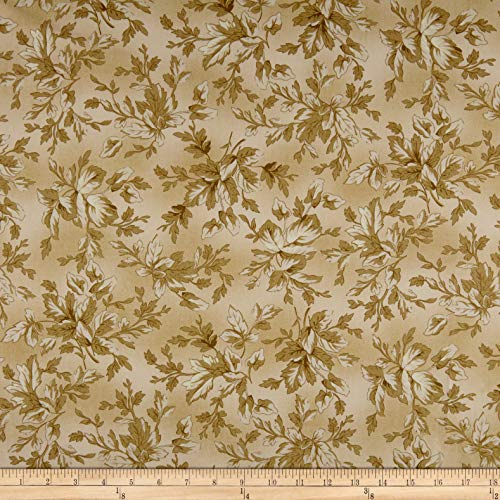 Maywood Studio Aubergine Tonal Leaves Fabric, Antique, Fabric By The Yard