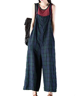 d6678f5fa2dc2 YESNO PS3 Women Casual Loose Cropped Overalls Plaid Rompers Jumpsuits Wide  Leg Low Crotch Pocket