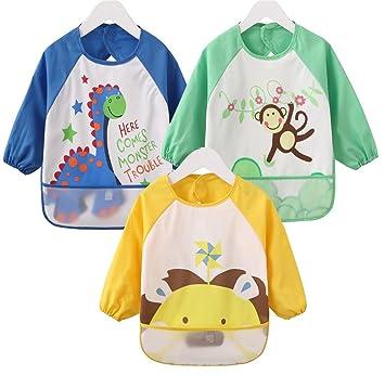 a277a63ce357c Amazon.co.jp: 男の子 防水 赤ちゃんのエプロン スモック 前掛け長袖 ...