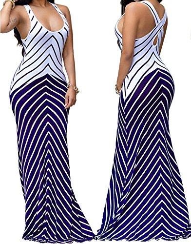 shekiss Women Sleeveless Sexy Maxi Stretch Bodycon Party Bandage Club Dresses – Small, Purple
