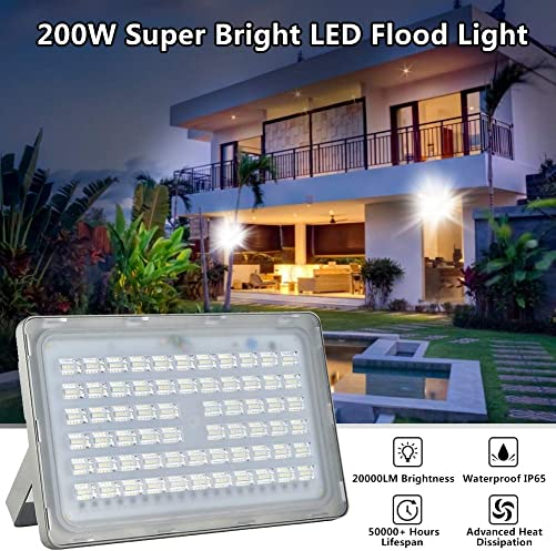 Catinbow 200W LED Flood Light Outdoor, IP65 Waterproof Outside Flood Lights, 2000LM 6500K Daylight White Outdoor Security Lights for Garden Landscape Floodlights Energy Class A