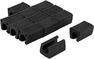 uxcell Plastic Furniture Foot Rectangle Shaped Non-Slip Chair Leg Tip Protectors 12pcs, Fit Furniture Leg Dia: 10-11mm