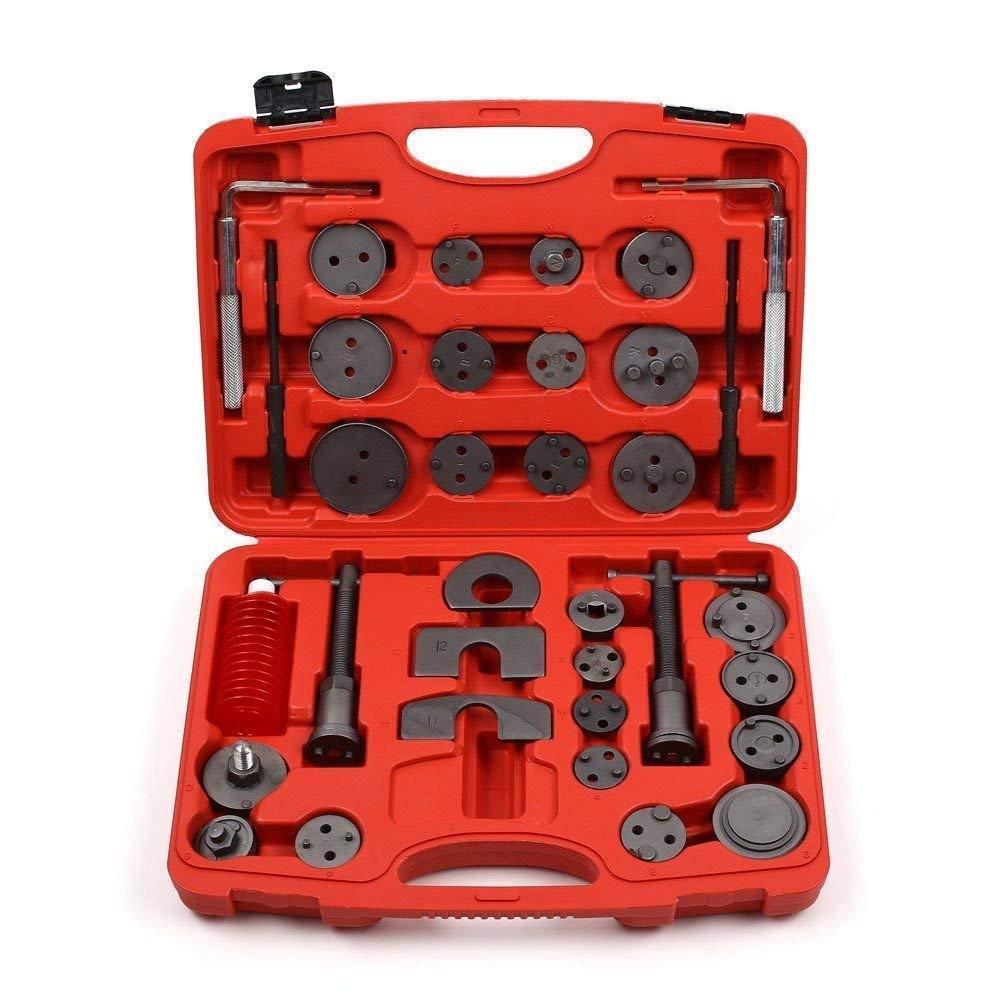 MVPower 35 Piè ces Coffret d' Outils Repousse Piston pour Etrier de Frein avec 23 adaptateurs, 4 plaques de retenue remplaç ables, Taille de la mallette: 38x28x8cm(rouge) 4 plaques de retenue remplaçables