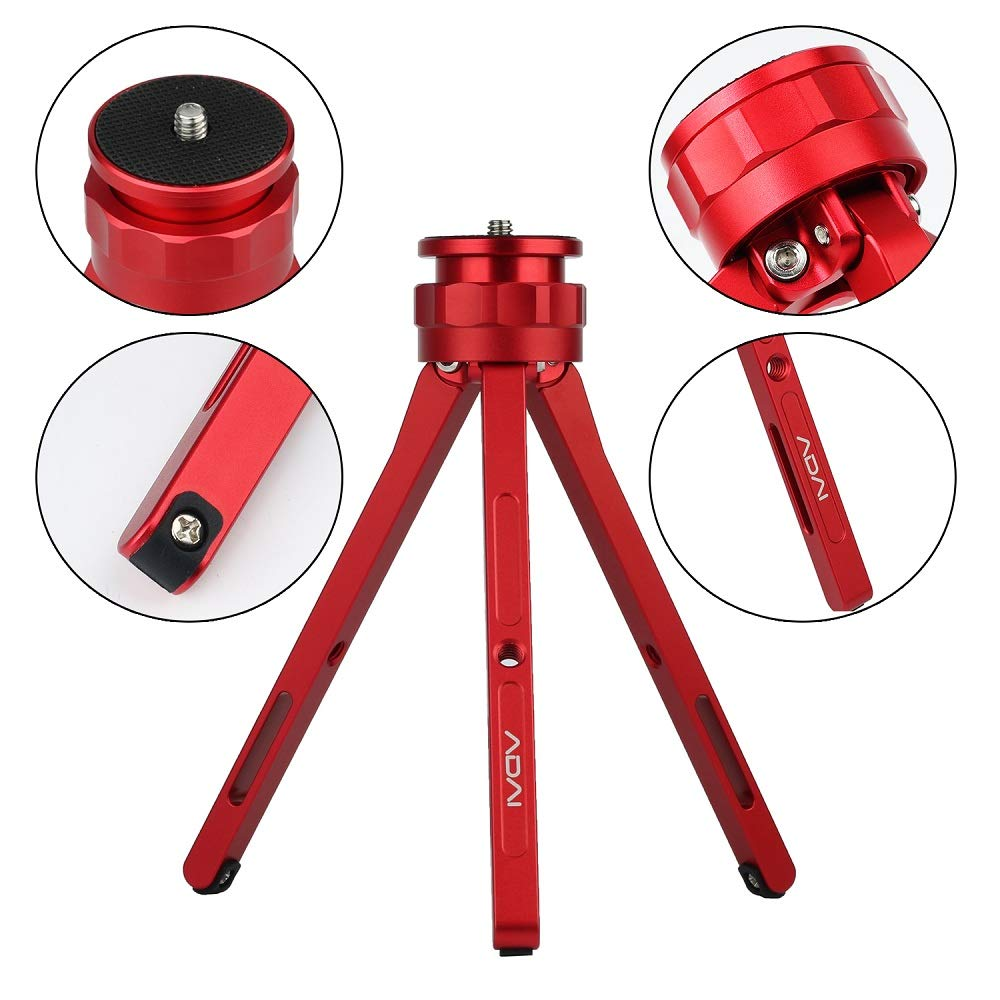 ADAI Aluminum Alloy Mini Tripod Tabletop Tripod for Camera/DSLR Camera, Lightweight and Portable Tripod Mini Tripod for Phone/Projection/Zhiyun Stabilizer Camera/Gopro (Red) by ADAI