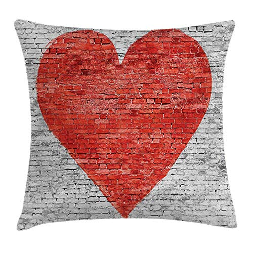 Rustic Home Decor Throw Pillow Cushion Cover by, Symbol of Love on Wall Romantic Feelings Heart Shape Street Pattern, Decorative Square Accent Pillow Case, 18 X 18 Inches, Red White Grey