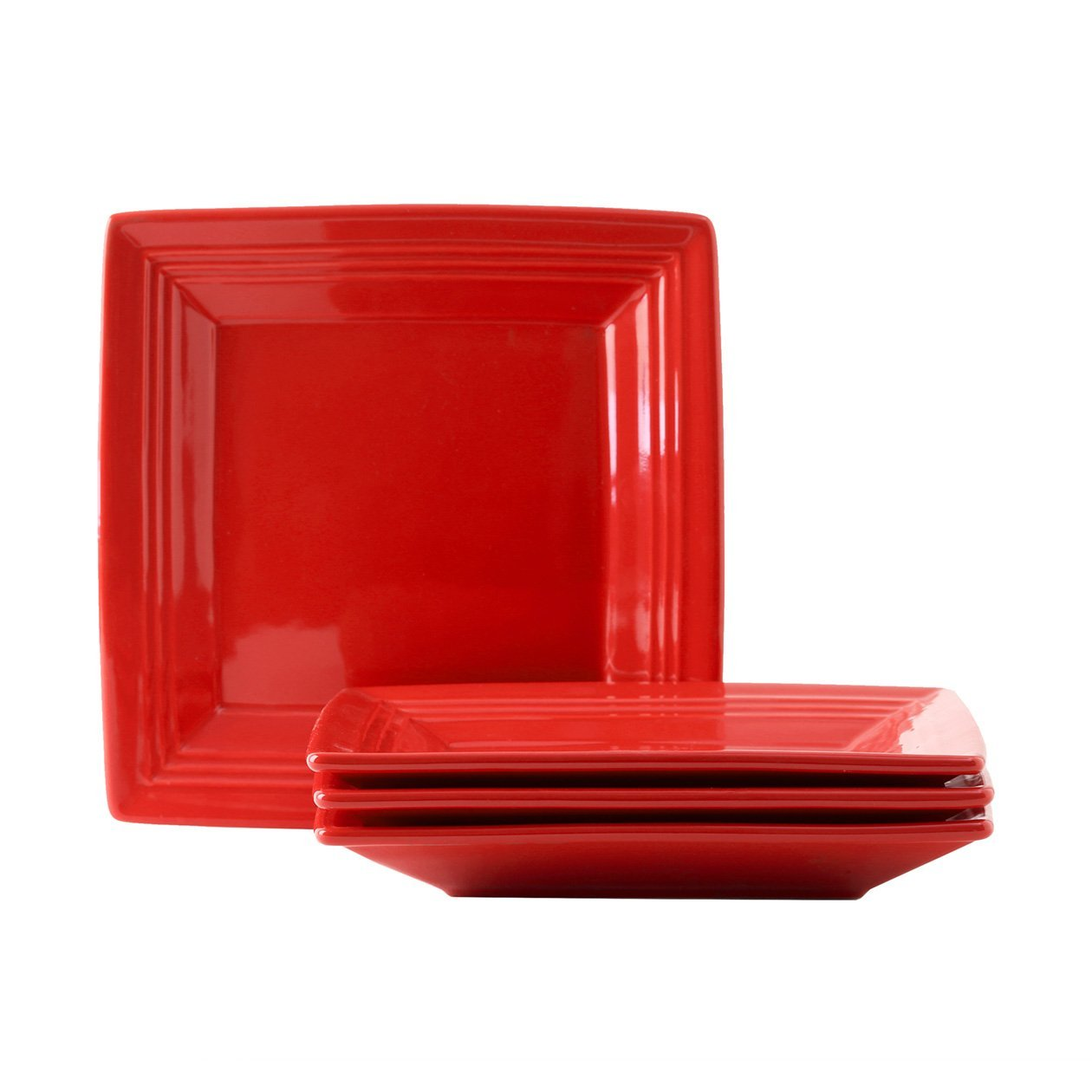 Tuxton Home Concentrix Square Plate (Set of 4), 8 1/2'', Cayenne Red; Heavy Duty; Chip Resistant; Lead and Cadmium Free; Freezer to Oven Safe up to 500F