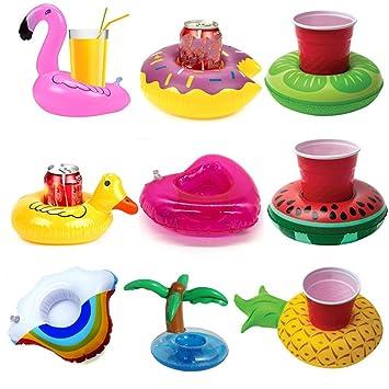 Posavasos de Flotador Unicornio & Flamingo Titular de Bebida Inflador 9 Pcs Colchonetas y Juguetes Hinchables